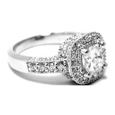 Cushion Diamond Engagement Ring with pave round Diamond Vintage
