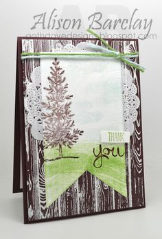 Gothdove Designs - Alison Barclay - Stampin' Up! Australia - Thank You card using Hardwood, Work of Art and Lovely As A Tree. Heat embossing gives a woodgrain texture. #colorcoach #stampinup #stampinupaustralia #thankyou #card #hardwood