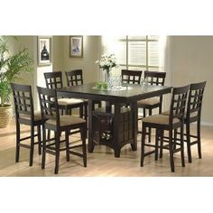 9pc Counter Height Storage Dining Table w/Lazy Susan & Chair Set. I love their shape and they're looked so firm.