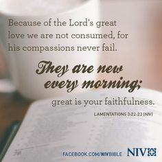 Because of the Lord's great love we are not consumed, for his compassions never fail. They are new every morning; great is your faithfulness. Lamentations 3:22-23 (NIV)