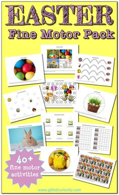 Easter Fine Motor Skills Pack with 40+ activities to work on several fine motor skills including pincer grasp, tracing, lacing, hole punching, and more. || Gift of Curiosity