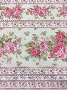 Tecido Coleção Romance - Barrado Rosa e Bege estampado para patchwork, artesanato e decoração. Tecidos 100% Algodão de fabricação nacional.