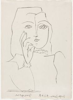 Twenty Poems of Gongora: The Bust of a Woman, Hand to Her Face, 1947   Pablo Picasso