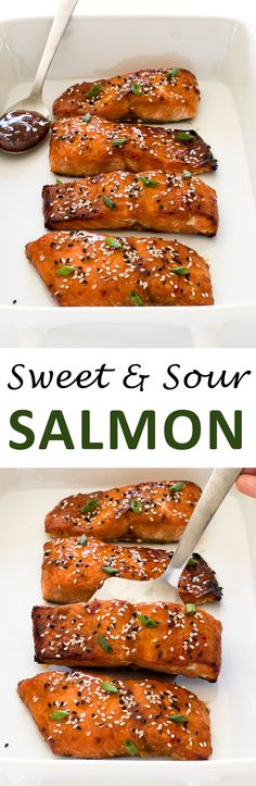 Sweet and Sour Salmon. Broiled salmon filets brushed with a quick and easy sweet and sour sauce! | chefsavvy.com #recipe #sweet #sour #salmon #seafood #dinner