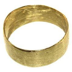 """This is one of our most popular wedding bands for both men and women. It is undoubtedly the most comfortable ring a person could ever wear. It literally feels """"barely-there"""" and has converted many a fellow who professed to never even want to wear a ring at all! The ring has an irregular border, a matte finish, and a hand-made quality that makes it a more interesting choice than a traditional high polished band. It measures approximately 8mm in thickness, and is shown here in 18k yellow gold…"""