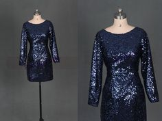 2015 short navy blue sequins prom dresses in stock,unique long sleeves gowns for party,chic cheap bridesmaid dress under 100. by PrincesssBride on Etsy https://www.etsy.com/listing/191404837/2015-short-navy-blue-sequins-prom