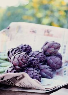 I love exotic fruits and vegetables like Fiesoles are special baby artichokes with a rich purple color. They're grown in California, taste rich and nutty and are almost entirely edible because they have no choke inside. Cooking reduces their vibrant hue so I eat them raw (shaved in a salad).
