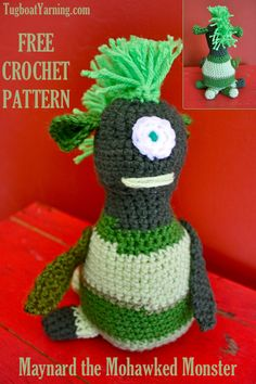 Maynard the Mohawked Monster Free Crochet pattern - uses up scraps and leftover pieces of yarn!