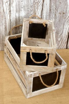 2 Wood Crates w/ Chalkboard Side Rope Handles 10 & 13 191121577917860195 Wooden Crate Boxes, Pallet Boxes, Wood Crates, Wood Boxes, Save On Crafts, Fun Crafts, Ideas Para Organizar, Wooden Planters, Kids Wood