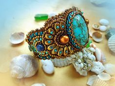 Relax -Bracelet Bead Embroidery Art with Turquoise