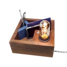 Beautiful This handmade wooden Desktop Organizer Edison Lamp was designed to be be an attractive solution to your desk clutter