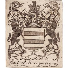 Ex Libris of Lt. General James Barry, 4th Earl of Barrymore
