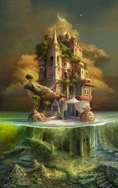 Just to put you in the mood for some fantasy reading or writing. a stunning illustration of a fairytale, fantasy castle. A mini-island refuge. Fantasy Places, Fantasy World, Dream Fantasy, Fantasy House, Dark Fantasy, Fantasy Artwork, Fantasy Drawings, Fantasy Paintings, Art Drawings