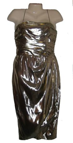 Vintage Dress 70s 80s Gold Lame Cocktail Party Draped Metallic Shimmer Size 8