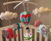 With MUSICAL CRIB ATTACHMENT. Glitter, pink polka dots and blue elephants, baby girls rotating musical mobile. Ready to ship! BabyBeansNZ