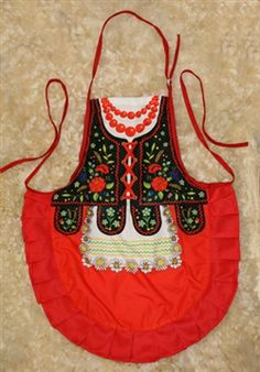 My mom had a traditional costume just like this apron! -Delightful cooking apron with a Krakow costume design, This apron makes a perfect gift for anyone looking for an upscale kitchen accessory o. Art Costume, Folk Costume, Costumes, Polish Clothing, Polish Folk Art, Jw Gifts, Cute Aprons, Sewing Aprons, Folk Dance