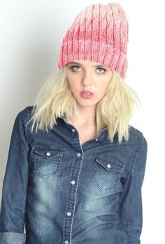 Shades of Life Ombre Ribbed Knit Beanie in Pink | Sincerely Sweet Boutique