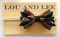Baby bow headband  Navajo print fabric on natural by louandlee, $16.00