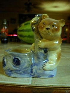 It also has on the bottom also stamped in black ink is a horse shoe. The colors are bright, the bear is brown and the tree he is hanging on is blue. My Girl, Old Things, Japan, Bear, Ceramics, Dolls, Cute, Vintage, Ceramica