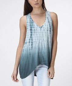Love this Teal & White Tie-Dye Racerback Tank by CottyOn on #zulily! #zulilyfinds