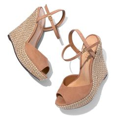 Schutz Elhan Espadrille Wedge Sandal ($180) ❤ liked on Polyvore featuring shoes, sandals, natural, schutz footwear, espadrille wedge shoes, wedges shoes, schutz and wedge heel sandals