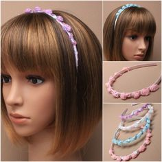 Girls Rosebud Hairband Flower Girl Bridesmaid Wedding Sequin Headband | eBay