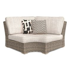 Gracie Oaks Astrid Wicker Patio Sofa With Cushions