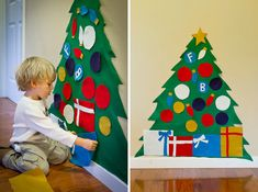 This is a wonderful crafts for kids –DIY Cute Felt Christmas Tree. The post Wonderful Kids crafts — DIY Felt Christmas Tree appeared first on The Perfect DIY. Cheap Christmas Crafts, Diy Felt Christmas Tree, Christmas Activities, Holiday Crafts, Holiday Fun, Christmas Holidays, Christmas Decorations, Toddler Christmas, Simple Christmas