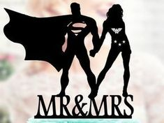 Superman and Wonder woman Silhouette, Mr and Mrs Wedding Cake Topper, Bride and Groom Wedding Cake Topper, Cake Toppers superheroes #modernweddingcakes