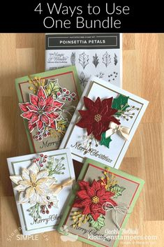 Do you know how to get your money's worth with one stamp and die bundle? The Stampin' Up! Poinsettia Petals makes it SO easy. I've got 4 card making ideas to share. Join me at www.klompenstampers.com #poinsettiapetalsstampinup #stampinupcards #cardmaking #cardmakingideas #handmadecards #jackiebolhuis #klompenstampers