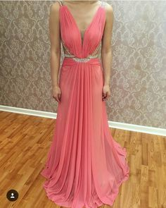 Charming Prom Dress,Plunging V-neck Pleated Floor Length Long Evening Dress