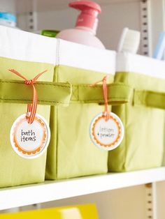 Designate a basket or bin for each category of toiletries or family member - add a label - you're good to go!