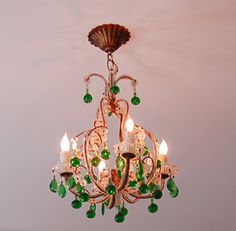 Antique French Chandeliers Wall Sconces European Lighting Home Decor Emerald Green 2013 Hot Color Interior Design Home $1350.00  http://www.pariscoutureantiques.com/item_2840/Incredible-Antique-Italian-Beaded-Chandelier-Emerald-Green-Drops-Rare.htm