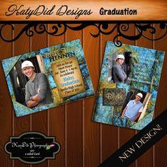 Blue and Gold Grunge 5x7 Senior Graduation Announcement