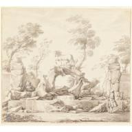 Design for a Fountain with Pegasus, for the Villa Albani, Rome, Carlo Marchionni, ca. 1750