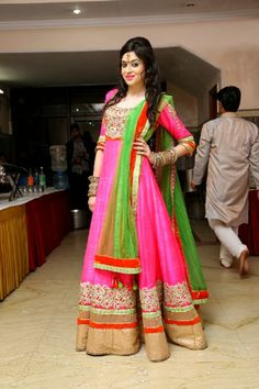 Neon color floor length Anarkali