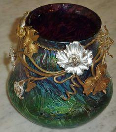 Rindskopf Amethyst Nouveau Art Glass Vase Floral Metal Overlay High Iridescence | Pottery & Glass, Glass, Art Glass | eBay!