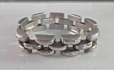 Art Deco Sterling Panther Link Bracelet Etched Flowers