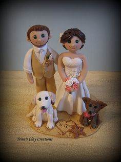 Wedding Cake Topper, Custom Bride and Groom with Two Dogs, Personalized, Polymer Clay, Beach Theme Wedding or Anniversary Keepsake