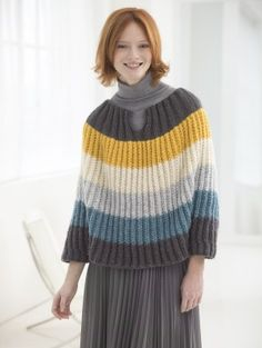 Flattering Striped Poncho - Lion Brand Yarn