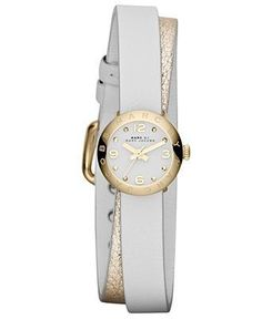 Montre pour femme : Marc by Marc Jacobs Watch Women's Amy Dinky Metallic Gold and White Leather