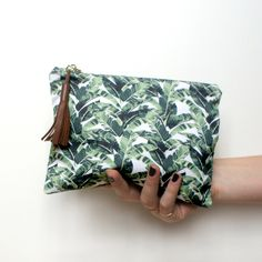 zipper pouch: banana leaf pattern, make up bag/ clutch/ wallet/ purse/ pencil case/ toiletry/ cosmetic. small, tropical, cotton by bowsandarrowsdesign on Etsy https://www.etsy.com/listing/258296650/zipper-pouch-banana-leaf-pattern-make-up