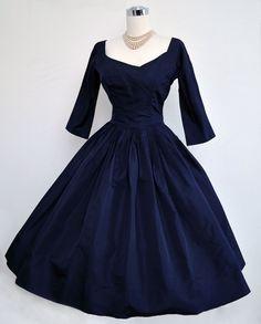 Vintage 50s Dress 1950s Dress Navy Blue Silk Full Skirt Evening Cocktail