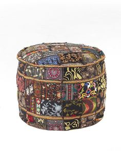 Another item that could be made for much less.  Patchwork Pouf at Neiman Marcus. Floor Pillows And Poufs, Couch Pillows, Decor Pillows, Eclectic Ottomans And Cubes, Funky Cushions, Tapestry Fabric, Sari Fabric, Handmade Furniture, Colorful Furniture
