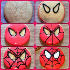 The Bake Files: Spiderman and Batman Cookies - Visit to grab an amazing super hero shirt now on sale! Cookies For Kids, Fancy Cookies, Cute Cookies, Cupcake Cookies, Cupcakes, Sugar Cookies, Spiderman Cookies, Superhero Cookies, Superhero Party