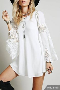 White Chiffon Swing Dress With Lace Splice Flare Sleeve - US$13.95 -YOINS