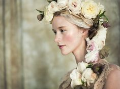 Cascading Rose and Rannuculus flower crown garland. Made by Bess from Celadon Celery Events.