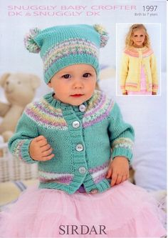 Round Neck Cardie and T-Bag Hat in Sirdar Snuggly Baby Crofter DK and Snuggly DK - 1997. Discover more Patterns by Sirdar Snuggly at LoveKnitting. The world's largest range of knitting supplies - we stock patterns, yarn, needles and books from all of your favorite brands.