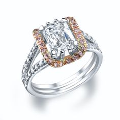 Our vintage inspired design featuring rose gold and natural pink diamonds. This design can be modified. #michaelscreativejewelry #diamondengagementring #pinkdiamonds #vintage