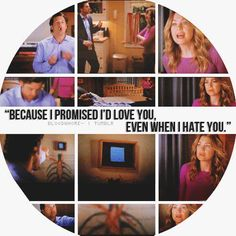 """Because I promised I'd love you, even when I hate you."" Derek Shepherd to Meredith Grey; The Post-It marriage. Grey's Anatomy quotes"